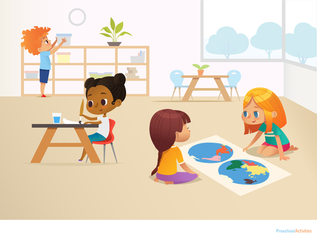 Multiracial children in Montessori classroom. Girls viewing world map and painting picture and boy taking container off shelf. Educational activities concept. Vector illustration for poster, website Stock Illustratie