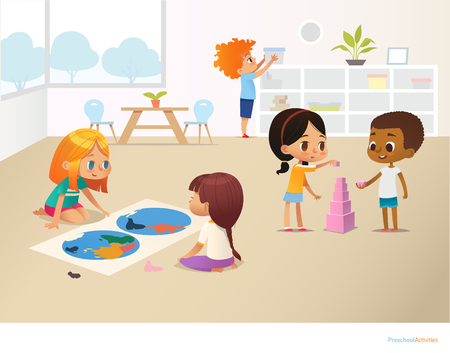 Smiling kids doing different tasks at primary school. Boys and girls building pyramid out of pink blocks and viewing world map. Montessori environment concept. Vector illustration for poster, banner Vectores