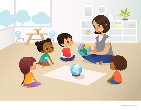 Smiling kindergarten teacher shows globe to children sitting in circle during geography lesson. Preschool activities and early childhood education concept. Vector illustration for poster, flyer