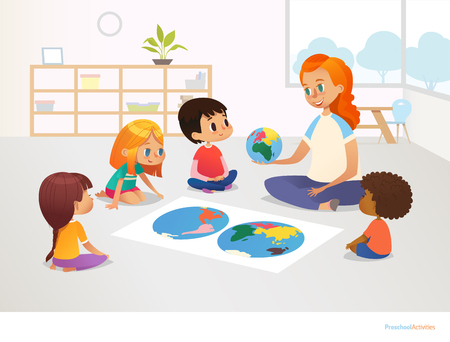 Children sit around world map and redhead female teacher demonstrates them model of planet Earth. Geography lesson at primary school concept. Vector illustration for poster, postcard, advertisement