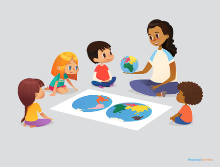Happy school kids and teacher sit in circle around atlas and discuss geographical questions during lesson. Preschool activities concept. Vector illustration for poster, advertisement, website, banner Vectores