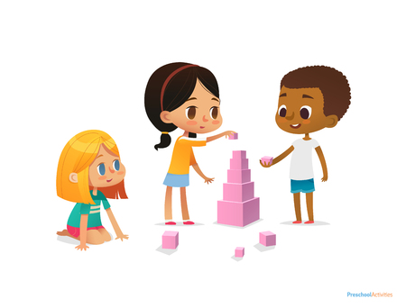 Multiracial children build tower with pink blocks. Kids play using kit with bright colored cubes. Montessori materials concept. Vector illustration for poster, banner, website, flyer, advertisement