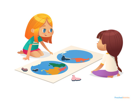 Two girls sitting on floor and trying to assemble world map puzzle. Educational activities for children. Learning through play concept. Vector illustration for poster, website, flyer, advertisement