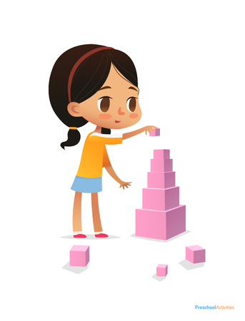 Girl with dark hair stands and builds tall pyramid using pink cubes. Child plays with bright colored blocks. Entertainment at kindergarten concept. Vector illustration for poster, banner, website