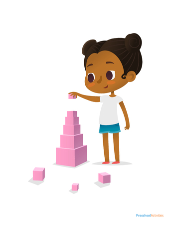 Black girl wearing T-shirt and blue shorts stands and builds tower using pink stacking cubes of different size. Visual identification of larger and smaller objects. Vector illustration for banner Ilustração