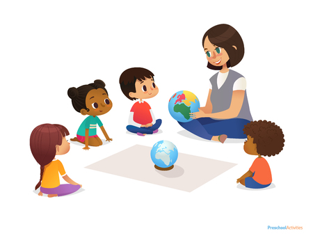 Friendly teacher demonstrates globe to children and tells them about continents. Woman teaches kids using Montessori materials during kindergarten lesson. Vector illustration for banner, website Çizim