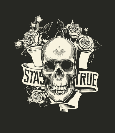 Human skull with rose flower in mouth against curved ribbon with phrase StayTrue. Vector illustration in vintage engraving or woodcut style for poster, tattoo, banner, advertisement, print. Illustration