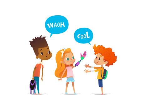 Das lächelnde, rothaarige Mädchen zeigt den überraschten Freunden ihren neuen künstlichen Arm, die Kinder bewundern es. Glückliches Kind mit rosa Prothese. Vektor-Illustration für Banner, Website, Werbung, Poster Vektorgrafik
