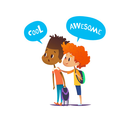 Two multiracial boys with backpacks stand amazed and surprised. Pair of school friends look in astonishment in one direction. Vector illustration for banner, website, advertisement, poster, postcard