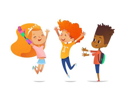 Gelukkige kinderen springen met opgeheven handen. Meisje met kunstmatige robotarm en haar vrienden zijn samen blij. Opname van gehandicapte kinderen concept. Vectorillustratie voor banner, website, advertentie