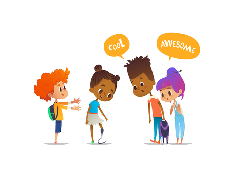 Smiling amputee girl demonstrates her new prosthetic leg to classmates, children are amazed and impressed. Concept of school friendship and inclusion. Vector illustration for banner, poster, website