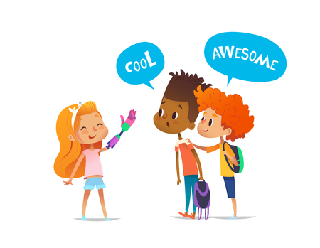 Smiling amputee girl shows robotic arm to two classmates, boys amazedly look at it and encourage her. Childrens friendship concept. Vector illustration for banner, website, advertisement, postcard