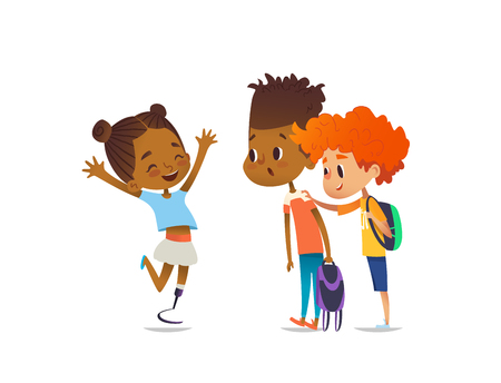 Cheerful amputee girl happily greet her school friends and shows them new artificial leg, two boys are surprised and happy. Welcome back concept. Vector illustration for website, social advertisement Stock Vector - 79012338