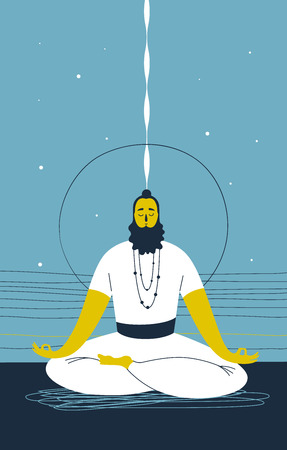 Male yogi with beard sits cross legged and meditates against abstract blue background with lines and circle. Concept of mental wellness and spiritual growth. Vector illustration for website, banner Illustration