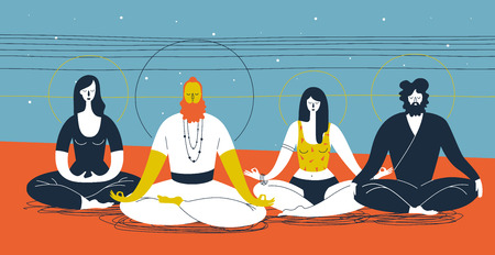 yogi: Group of people sitting in yoga posture and meditating against abstract blue and orange background with horizontal lines and circles. Concept of collective spiritual practice. Vector illustration Illustration