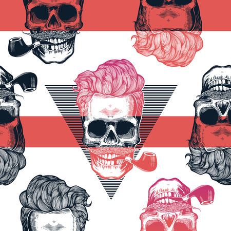 Kitschy seamless pattern. Human skulls with hipster hairstyle and smoking pipe drawn in engraving style against red horizontal stripes and black triangles on background. Vector illustration