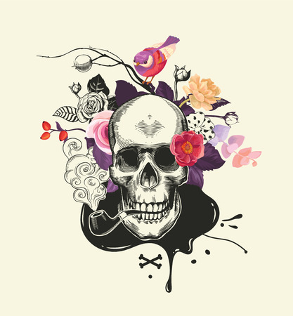 Human skull drawn in etching style with smoking pipe in mouth against bouquet of half-colored roses, crossed bones and ink stain on background. Vector illustration for banner, poster, t-shirt print