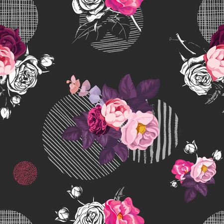 Floral seamless pattern with bunches of wild rose flowers and gray round elements of different textures on black background. Vector illustration in retro style for textile print, wrapping paper