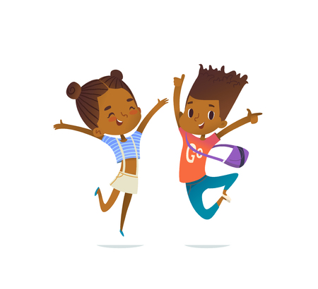 Couple of African American children, boy and girl, cheerfully jumping with their hands up. Concept of positive emotions and celebration. Vector illustration for banner, poster, website, postcard. Иллюстрация