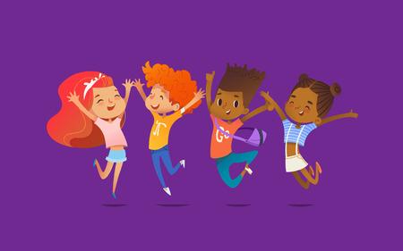 쾌활 한 학교 친구 행복 하 게 자신의 손으로 자주색 배경에 점프. 진정한 우정과 친절한 모임의 개념. 웹 사이트 배너, 포스터, 전단지, 초대장에 대 한 일러스트