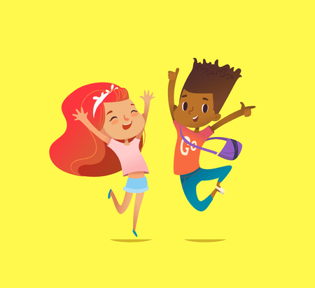 Excited boy and girl of different races laugh, rejoice and jump with raised hands against yellow background. Delighted children concept. Vector illustration for website banner, poster, postcard.
