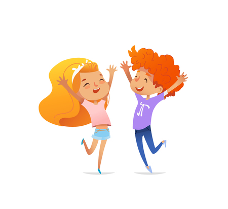 Two smiling redhead children cheerfully jump and dance in front of each other with raised hands. Concept of optimism and positive emotions. Vector illustration for banner, poster, print, website.