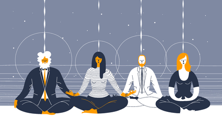 legs crossed: Several office workers in smart clothing sit in yoga position and meditate against abstract blue background. Concept of business meditation and team building activity. Vector illustration for poster.