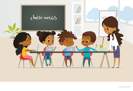 Group of African American kids learn coding, one boy answers question, smiling female teacher listens to him. Concept of informatics lesson at school. Vector illustration for banner, poster, website. Иллюстрация