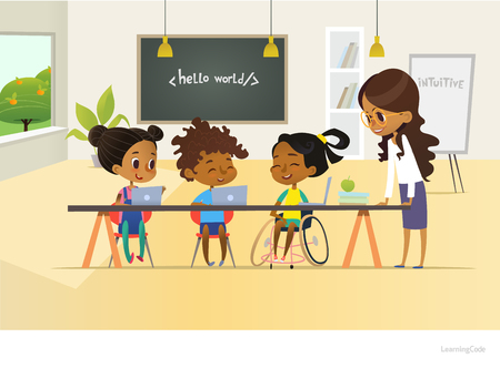 Disabled African American girl and two other children discuss programming during informatics lesson at school, teacher in glasses listens. Concept of teaching kids to code. Vector illustration.
