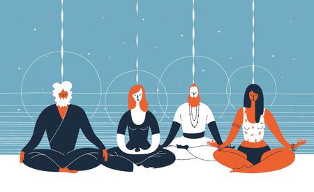Cuatro personas se sientan con los ojos cerrados y las piernas cruzadas y meditar contra el fondo azul abstracto con líneas horizontales y círculos. Concepto de práctica espiritual de grupo. Ilustración vectorial para banner. Foto de archivo - 79930667