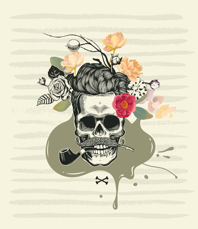 Human skull drawn in retro etching style with half-colored roses decorating its hair, smoking pipe in mouth and mustache against marsh green paint traces and blot on background. Vector illustration.