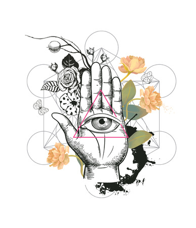 Human eye inside triangle against hand, semi-colored rose flowers and geometric figures on background. Concept of mysterious symbol. Vector illustration in hipster style for t-shirt print, banner