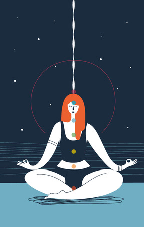 Woman with closed eyes and seven chakras of different colors sits in yoga position and meditates against blue background. Concept of physical health and meditation. Vector illustration for poster Illustration