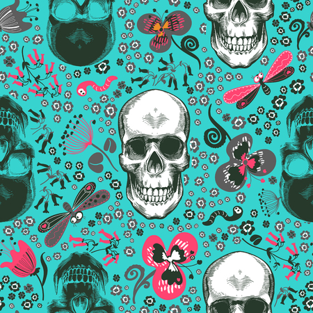 Lovely seamless pattern with human skulls drawn in etching style, pink, gray and black flowers and cartoon insects against blue background. Vector illustration for print, wallpaper, wrapping paper. Иллюстрация