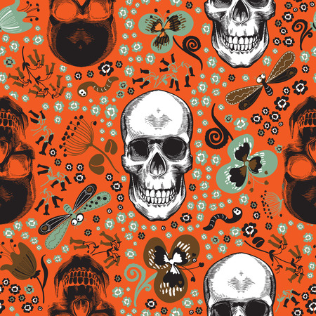 Cute seamless pattern with human skulls drawn in vintage engraving style, cartoon green and brown flowers, butterflies and worms against orange background. Vector illustration for textile print. Иллюстрация