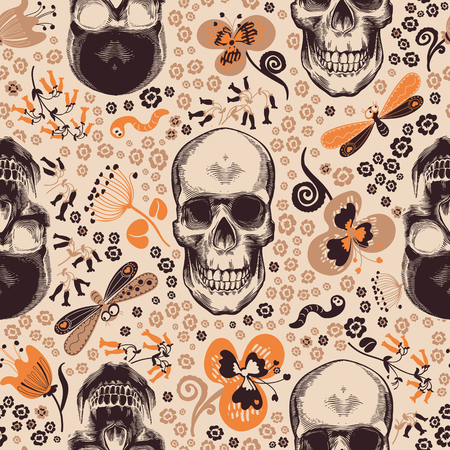 Gorgeous floral seamless pattern with skeleton skulls drawn in retro woodcut style, cartoon orange and brown flowers and funny insects against beige background. Vector illustration for fabric print. Иллюстрация