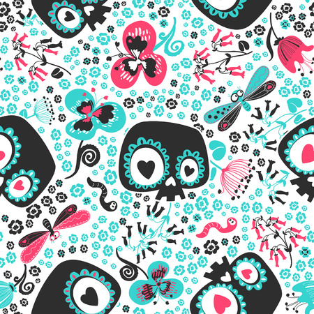Beautiful seamless pattern with cute cartoon heart-eyed skeleton skulls, turquoise and pink meadow flowers, butterflies and worms against white background. Vector illustration for wrapping paper.