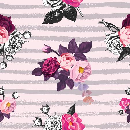 반투명 아름 다운 원활한 패턴 회색 가로 페인트 추적과 분홍색 배경에 야생 장미 꽃의 움 큼. 종이, 벽지, 섬유 인쇄 배치에 대 한 벡터 일러스트 레이
