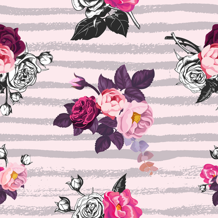 Beautiful seamless pattern with half-colored bunches of wild rose flowers against pink background with gray horizontal paint traces. Vector illustration for wrapping paper, wallpaper, textile print.