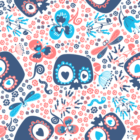 Mexican Day of the Dead festive seamless pattern with heart eyed cartoon skulls, beautiful wild flowers, lovely insects against white background. Vector illustration for wrapping paper, wallpaper.