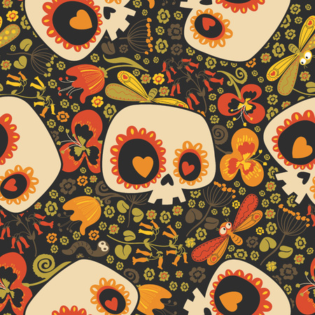 Motley seamless pattern with silhouettes of lovely cartoon human skulls with heart eyes, blooming flowers and cute insects against black background. Vector illustration for fabric print, wallpaper. Иллюстрация