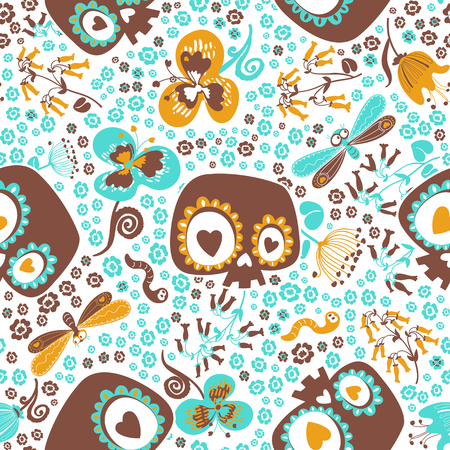 Cute seamless pattern with silhouettes of cartoon sugar skulls, blooming summer plants, goggle eyed butterflies and worms against white background. Vector illustration for wrapping paper, wallpaper.