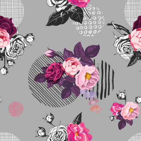 Elegant seamless pattern with semi-colored wild rose flowers against gray background with hand painted circular elements of different texture. Vector illustration for fabric print, wrapping paper. 向量圖像