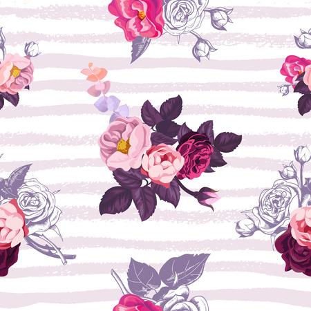 野生のバラの背景にライラックのホリゾンタル塗装コースに対して小さな半分色の花束を豪華な植物シームレス パターン。お祭りの背景、繊維印刷  イラスト・ベクター素材