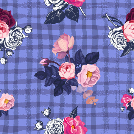Lovely floral seamless pattern with semi-colored bunches of pink roses against purple background with grungy intersected paint trails. Vector illustration for greeting card, wallpaper, fabric print.