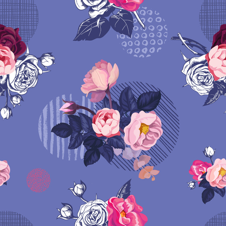Romantic natural seamless pattern with half-colored blooming summer flowers and leaves against purple background with round elements of different textures. Vector illustration for textile print.