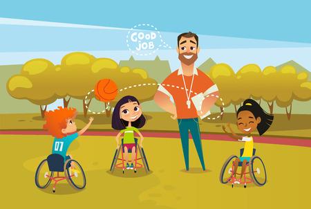 Crianças com deficiência alegres em cadeiras de rodas, brincando com bola e treinador masculino em pé perto deles e supervisão. Conceito de esportes adaptáveis para crianças. Ilustração vetorial para propaganda, banner, cartaz