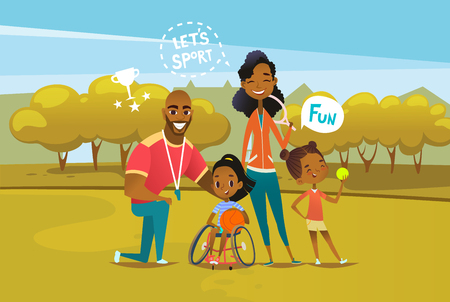 Happy African American family with disabled girl sitting in wheelchair and holding basketball ball. Concept of parents involvement in physical activities of kids with disability. Vector illustration.