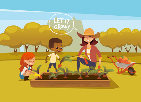 Smiling multiracial children and female agricultural worker in rubber boots and gloves harvesting vegetables in autumn garden. Concept of gardening for kids. Vector illustration for banner, poster.