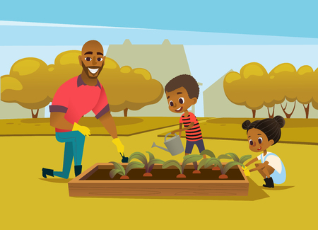 Cheerful African American father and two kids dressed in rubber boots cultivate vegetables growing in bed against trees on background. Concept of family activities in garden. Vector illustration.